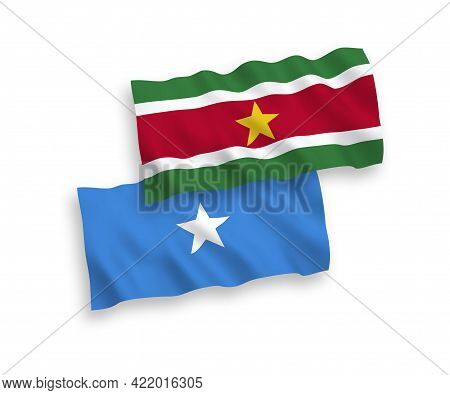 National Fabric Wave Flags Of Republic Of Suriname And Somalia Isolated On White Background. 1 To 2