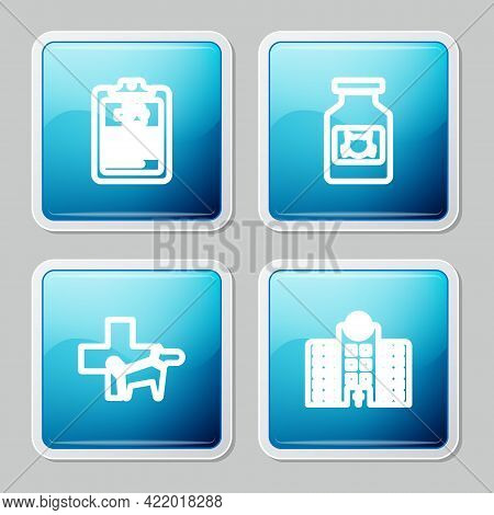 Set Line Clinical Record Pet, Cat Medicine Bottle, Veterinary Clinic And Hospital Icon. Vector