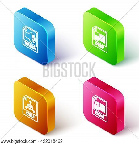 Set Isometric Line Wma File Document, Pdf, Obj And Doc Icon. Vector