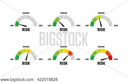 Set Of High Risk Concept On Speedometer Vector Illustration, Speedometer Icon. Colorful Infographic