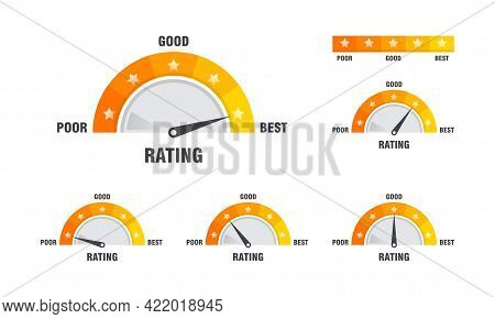 Set Of Rating Scale Illustration Template, Satisfaction Meter. Rating Stars. Minimum To Maximum Indi