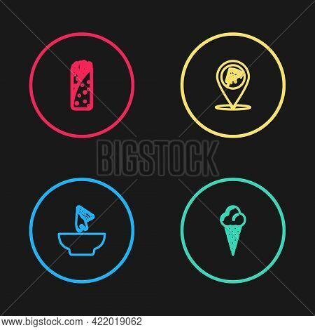 Set Line Nachos In Plate, Ice Cream Waffle Cone, Location With Slice Pizza And Burrito Icon. Vector