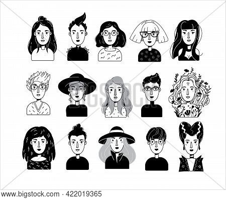 Vector Women Characters Portrait Set. Female Avatar Faces. Girls Icons In Outline Black And White Do