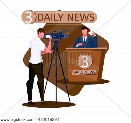 Daily News Live Tv Program Flat Composition With Anchor And Cameraman Vector Illustration