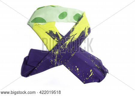 Silk Colored Handkerchief On A White Background