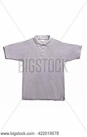 Grey Polo Shirt On A White Background