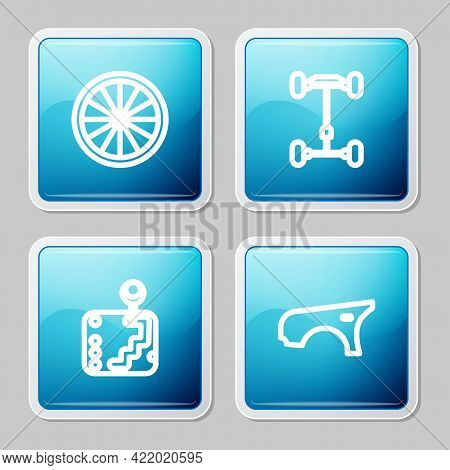 Set Line Car Wheel, Chassis Car, Gear Shifter And Fender Icon. Vector