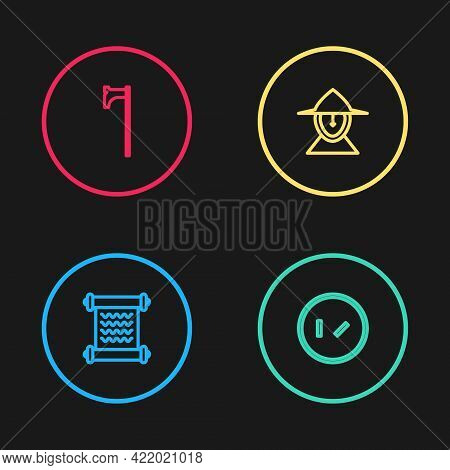 Set Line Decree, Parchment, Scroll, Round Wooden Shield, Medieval Iron Helmet And Axe Icon. Vector