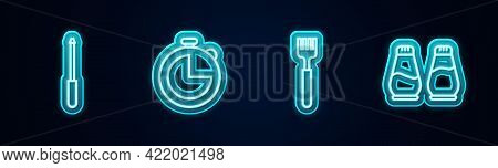 Set Line Knife Sharpener, Kitchen Timer, Fork And Salt And Pepper. Glowing Neon Icon. Vector
