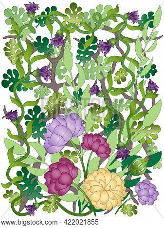 Weaving Plants And Flowers. Purple Flowers And Green Leaves