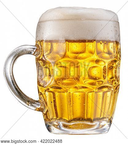 Mug of pale lager beer with a large head of beer foam isolated on white background. File contains clipping path.