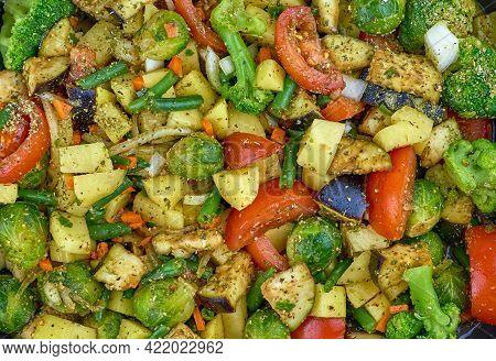 Vegetable Stew, Top View. Juicy Vegetables Sprinkled With Seasoning. Tomatoes, Potatoes, Brussels Sp