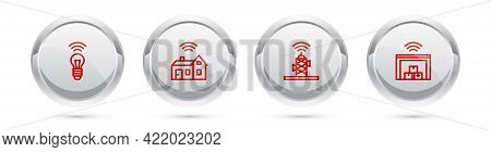 Set Line Smart Light Bulb, Home With Wireless, Wireless Antenna And Warehouse. Silver Circle Button.