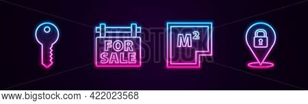 Set Line House Key, Hanging Sign With For Sale, Plan And Location Lock. Glowing Neon Icon. Vector