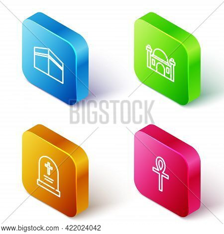 Set Isometric Line Kaaba Mosque, Muslim Mosque, Tombstone With Cross And Cross Ankh Icon. Vector