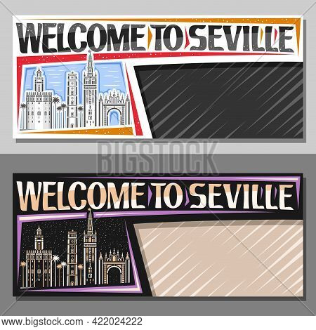 Vector Templates For Seville With Copy Space, Decorative Voucher With Illustration Of Seville City S