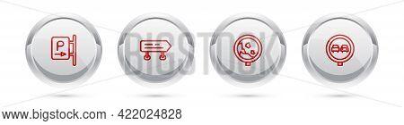 Set Line Parking, Road Traffic Sign, Warning Rockfall And No Overtaking Road. Silver Circle Button.