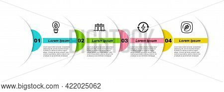 Set Line Light Bulb With Leaf, Hydroelectric Dam, Recharging And Electric Plug. Business Infographic