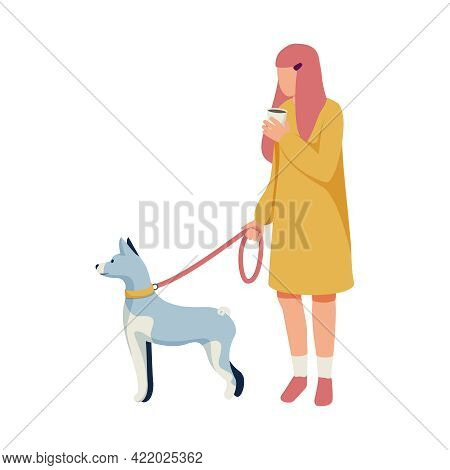 Woman Walking Dog On Leash And Drinking Coffee Flat Vector Illustration