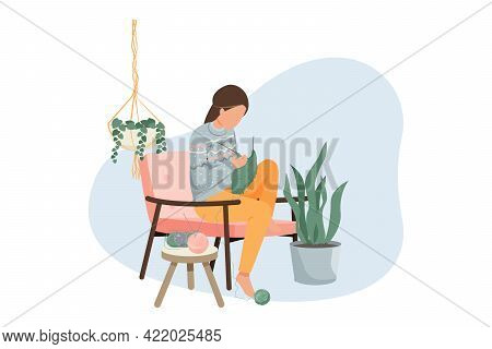 Hygge Lifestyle Flat Composition With Knitting Woman In Cozy Room Vector Illustration