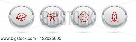 Set Line Planet Saturn, Telescope, Asteroid And Rocket Ship. Silver Circle Button. Vector