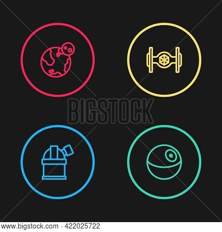 Set Line Astronomical Observatory, Planet, Cosmic Ship And Earth Globe Icon. Vector