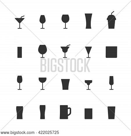Glass Icons Set Silhouettes. Drinks Black Symbol Collection. Different Cocktails Beverages. Vector I