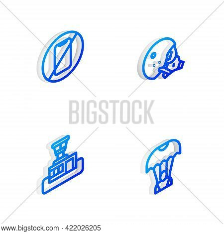 Set Isometric Line Modern Pilot Helmet, No Cell Phone, Airport Control Tower And Parachute Icon. Vec