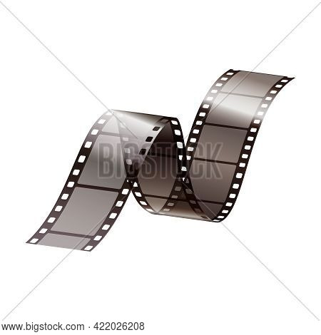 Realistic Icon With Twisted Piece Of Film Strip Vector Illustration
