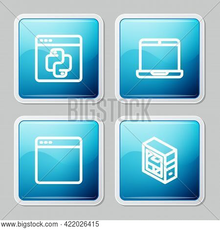 Set Line Python Programming Language, Laptop, Browser Window And Computer Icon. Vector