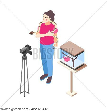 Woman Vlogger Talking In Front Of Camera About Her Pet Snake Isometric Vector Illustration