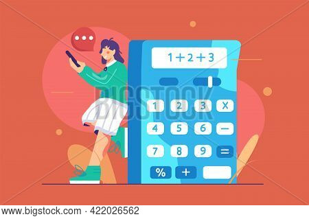 Woman Counting On Calculator App Vector Illustration. Big Calculator With Numbers On Screen Flat Sty