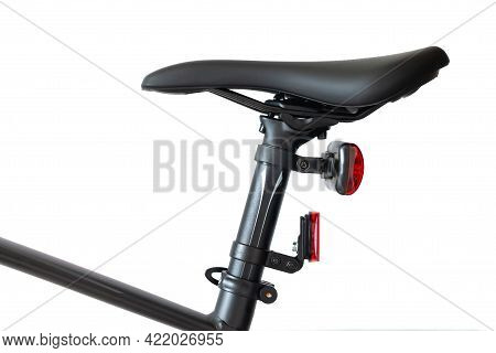 Bicycle Seat Or Saddle And Seatpost Isolated On White Background