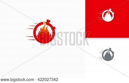 Fire Time Logo Designs Template, Fast Timer Logo Symbol, Fire And Stopwatch Logo Symbol Icon Templat