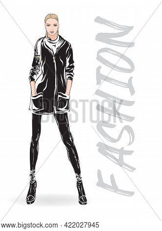 Beautiful Young Woman In Spring Jacket. Hand Drawn Fashion Girl. Fashion Model Posing. Sketch. Vecto