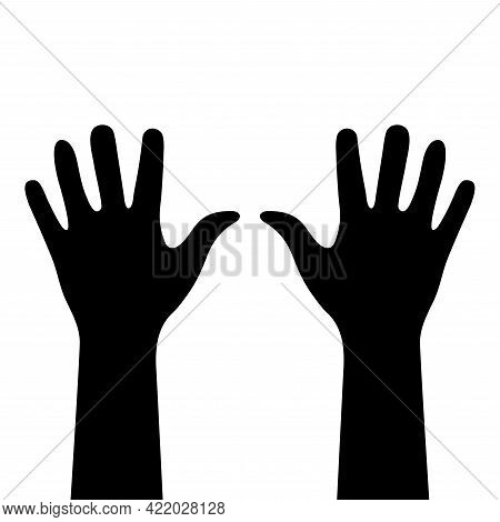 Two Hands Close-up. Black Silhouettes Isolated. Right And Left Human Hands With Palms Raised Up. Han