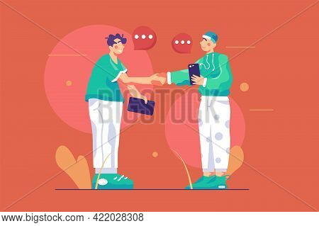 Adult People Shaking Hands On Street Vector Illustration. Young Guys Met On City Street And Greeting