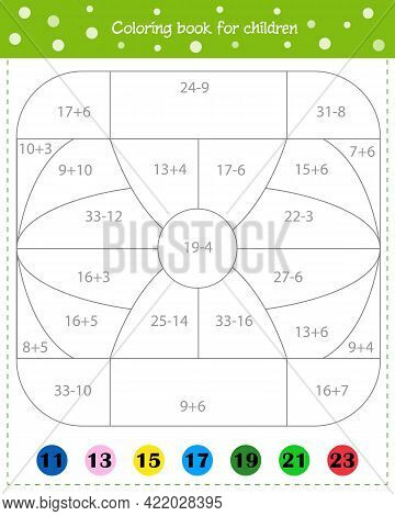 Mathematical Coloring Book For Children. Addition And Subtraction. Worksheet. Vector Illustration