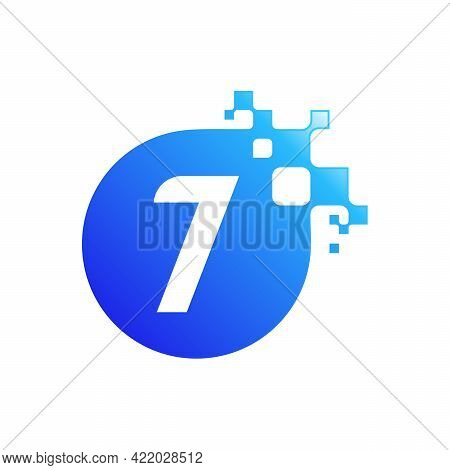 Pixel 7 Letter Logo Designs,7 Initial Tech Design Vector Template With Abstract Circle Pixel