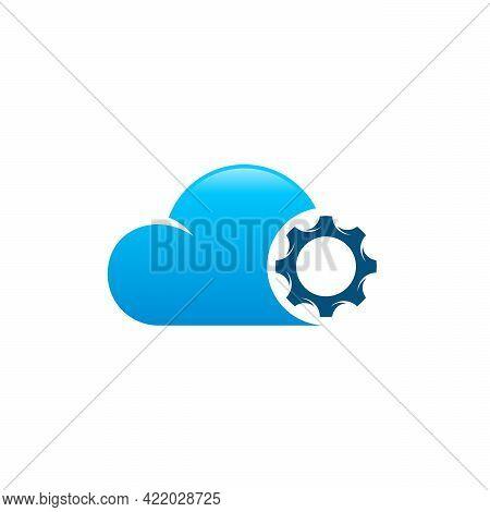 Cloud Gear Logo Designs Concept Vector, Cloud Setting Logo Symbol