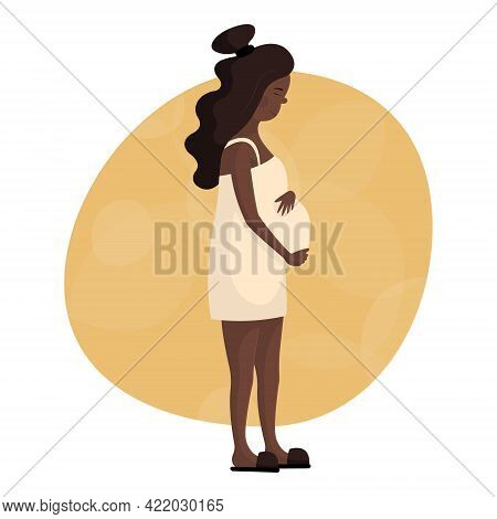 Beautiful Pregnant Young Black Woman Holding Her Hands On Her Belly. Happy Pregnancy, Childbirth And
