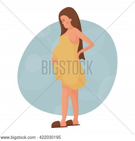Beautiful Pregnant Young White Woman Holding Her Hand Behind Her Back. Happy Pregnancy, Childbirth A