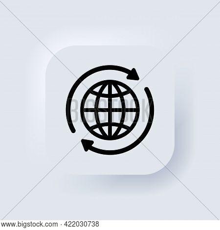 Internet Icon. World International Earth Globe Icon. Round Globe With Arrows Around Sign. World Sign
