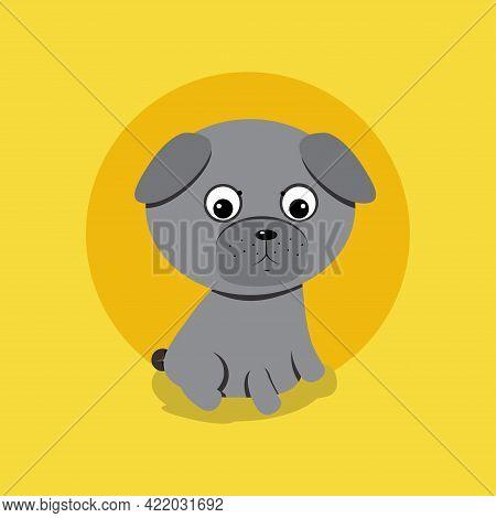 Cute Dog Of Pug Breed. Vector Illustration.
