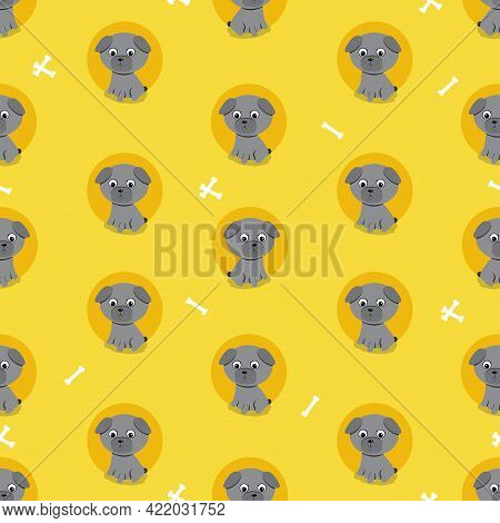 Pattern Of Cute Dogs Of Pug Breed With Bones. Vector Illustration.