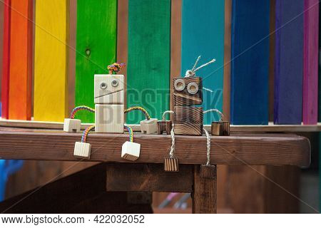 Wooden Toy Photo Camera. Close Up View On Handcrafted Wood Play Thing For Toddler