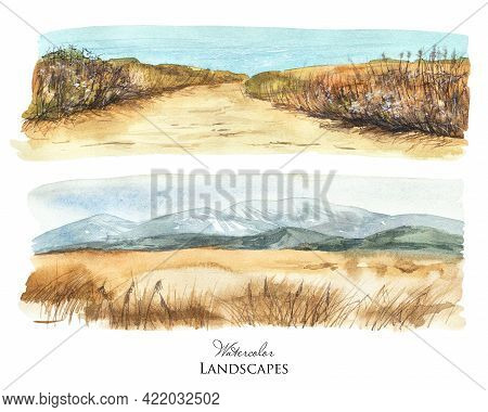 Watercolor Landscape. Wild Beach, Blue Sea. Mountains View And Dry Grass Field