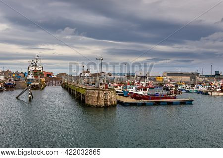 Peterhead, Aberdeenshire, Scotland, Uk - 05 February 2016: View Of The Industrial Area. A Port And S