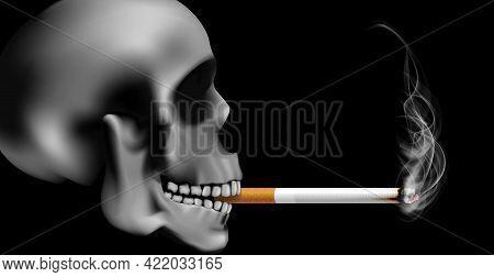 World No Tabacco Day Campaign Illustration No Cigarette For Health Scary Skull Smoking In Black Dark