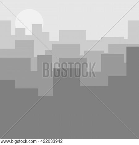 Modern City Skyline. Gray Abstract Cityscape With Silhouettes Of Houses And Skyscrapers. Cityscape B